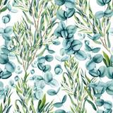 Bezszwowy wzór Akwareli Eukaliptusowi liście - 237255126