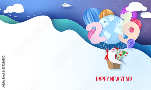 Foto op Canvas Regenboog 2019 Happy New Year design card with Santa and elf
