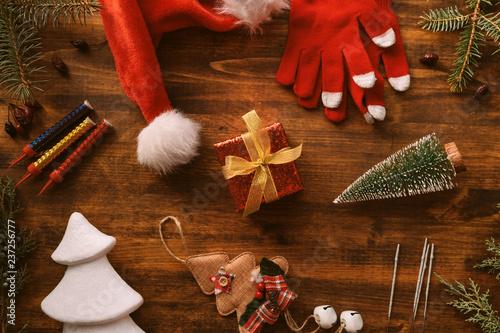 Fotografie, Obraz  Nostalgic Christmas decoration flat lay arrangement