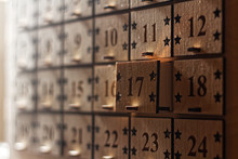 Wooden Advent Calendar With Little Drawers With Numbers