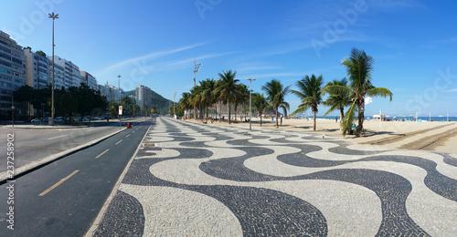 Copacabana Beach Rio de Janeiro boardwalk with  blue sky Canvas Print