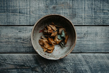 Rustic Bowl Full Of Autumn Dry...