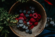 Above View Of A Bowl Of Winter Berries