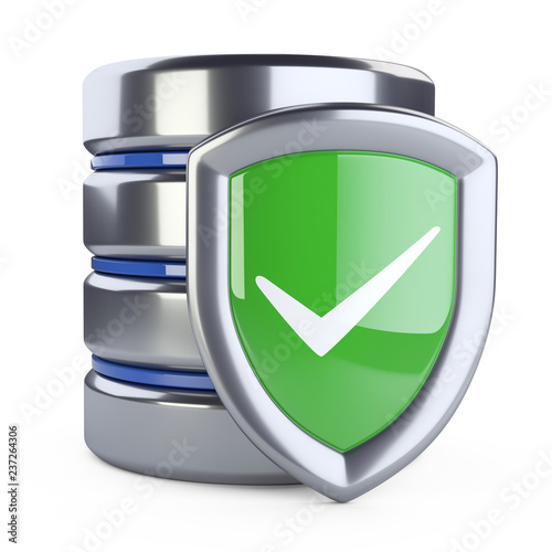 Fotografie, Obraz  Hard disk icon with green protection shield - front view