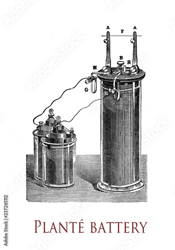 Photographie Electricity and lab applications: first lead-acid battery invented by Gaston Pla