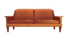 Old Leather Brown Sofa Isolate...