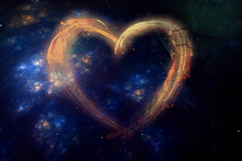 Artistic Abstract Multicolored Heart On A Galaxy Background