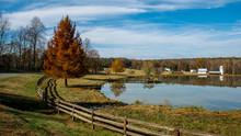 Farm Buildings On A Lake In North Carolina