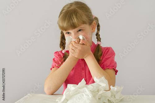 Fotografia, Obraz little girl has a runny nose