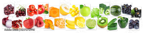 Poster Légumes frais Collage of color fruits and vegetables