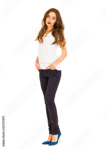cecc9ab3424 Portrait of beautiful girl in jeans and white t-shirt - Buy this ...