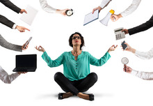 Businesswoman Tries To Keep Calm With Yoga Due To Stress And Overwork At Wok