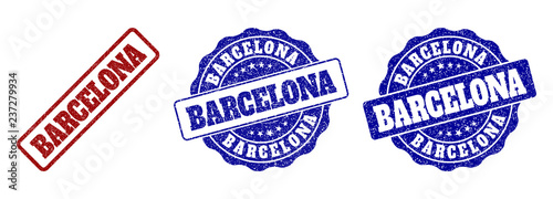 BARCELONA grunge stamp seals in red and blue colors Canvas Print