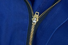 Open Yellow Metal Zip On Blue Clothes