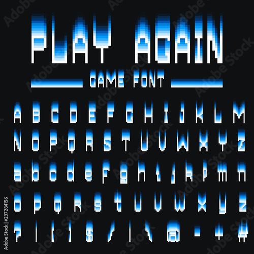 Obraz Pixel font. 8-bit symbols. Digital video game style. letters and numbers. Vintage retro typeface abc. Error Computer Video. Color Abstract Damage. Futuristic style. Vector Alphabet. - fototapety do salonu