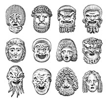 Antique Scary Masks. Ancient Greek Theatrical Abstract Faces. Japanese Demon, Old Man And Young Woman. Vintage Style. Engraved Hand Drawn Sketch.