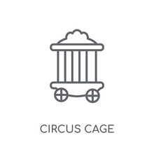 Circus Cage Linear Icon. Moder...