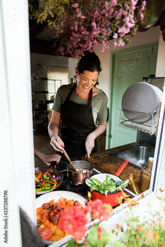 Woman cooking lunch in the kitchen food photography recipe idea
