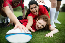 Female Rugby Players In Action