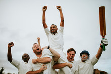 Cheerful Cricketers Celebratin...
