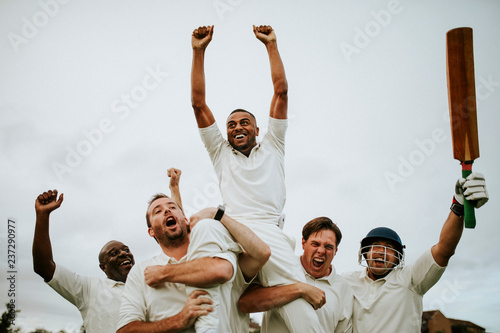 Pinturas sobre lienzo  Cheerful cricketers celebrating their victory