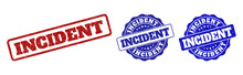 INCIDENT Scratched Stamp Seals In Red And Blue Colors. Vector INCIDENT Labels With Scratced Texture. Graphic Elements Are Rounded Rectangles, Rosettes, Circles And Text Captions.