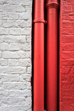 Red And White Walls With Tubes