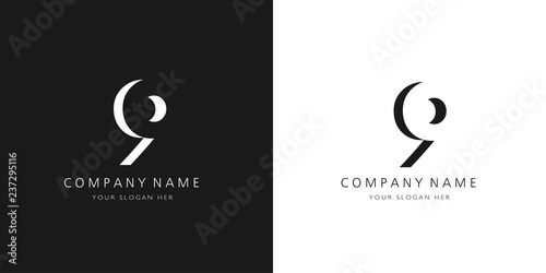 Fotografia  9 logo numbers modern black and white design
