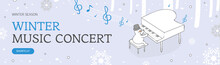 Shopping Banner With Snow. Con...