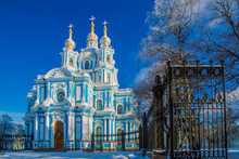 Saint Petersburg. Russia. Poster Of Russian Cities. Smolny Cathedral. New Year In St. Petersburg. Russia In The Winter. New Year. Christmas. Winter In St. Petersburg.