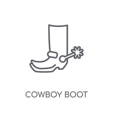 Cowboy Boot Linear Icon. Moder...