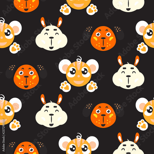 36d4e8bd2caab Cute smiling animals childish vector colorful seamless repeat pattern.  Cheerful funny alpaca, dog and monkey baby background for apparel print and  fabric.