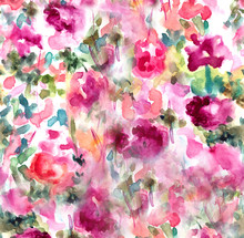 Hand Painted Watercolor Hollyhock Floral Field Art Piece. Watercolor Floral Art
