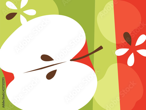 Abstract fruit design in flat cut out style. Apples and seeds. Vector illustration.