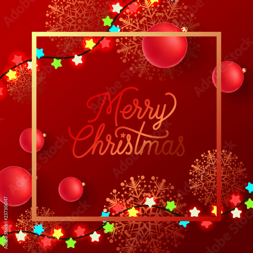 Christmas Leaflet Background.Merry Christmas Creative Leaflet Design Calligraphy In