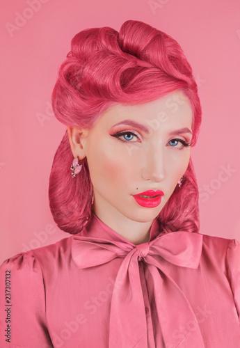 Original Woman Portrait In Pink Retro Dress Minimal Color Trend