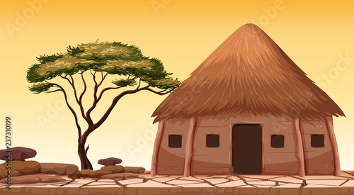 Fotografía A traditional hut at desert