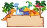 Fototapeta Dinusie - Many dinosaur on wooden board