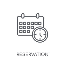 Reservation Linear Icon. Modern Outline Reservation Logo Concept On White Background From Hotel And Restaurant Collection