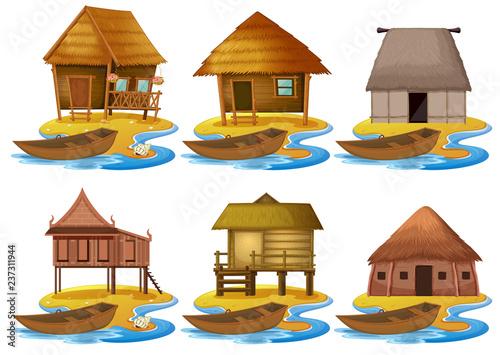 Fotografiet Set of different wooden house