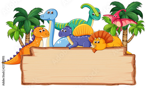 Papel de parede Many dinosaur on wooden board