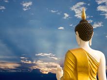 Back Side Of Big Buddha Statue With Beautiful Blue Sky