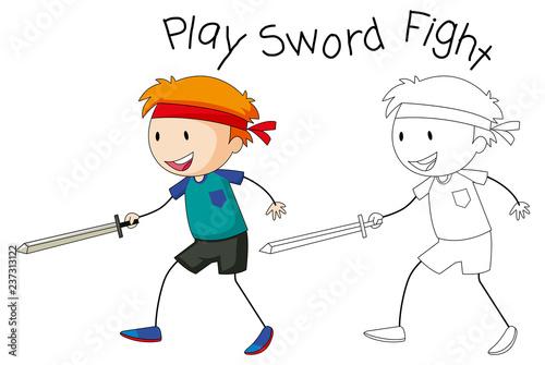 Staande foto Kids A doodle boy playing sword fight