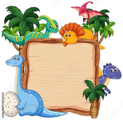 Staande foto Kids Many dinosaur on wooden banner