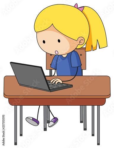 Staande foto Kids Doodle girl playing computer