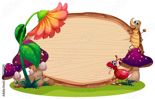 Staande foto Kids insect on the wooden board
