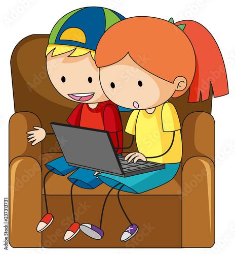 Staande foto Kids Doodle children playing computer