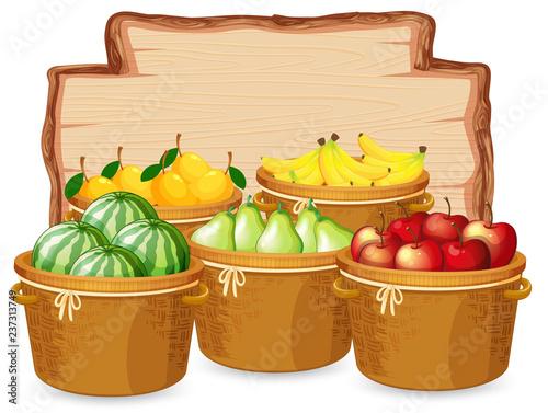 Staande foto Kids Many fruit on wooden board