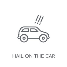 Hail On The Car Linear Icon. Modern Outline Hail On The Car Logo Concept On White Background From Insurance Collection