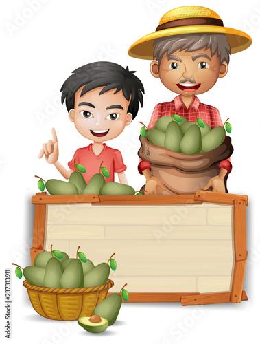 Staande foto Kids Farmer holding avocado on banner